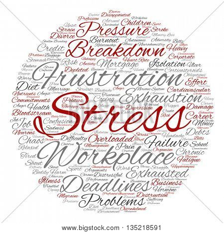 Concept conceptual mental stress at workplace or job abstract round word cloud isolated on background, metaphor to health, work, depression, problem, exhaustion, breakdown, deadlines, risk, pressure