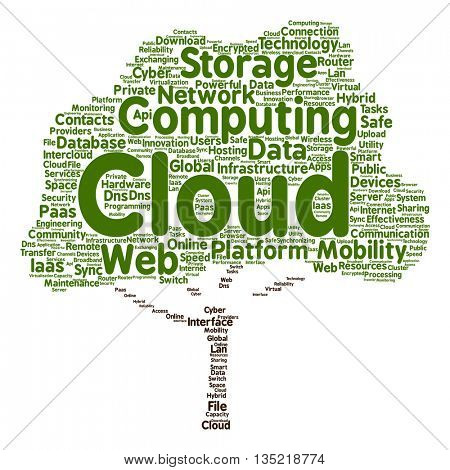 Concept conceptual web cloud computing technology abstract tree wordcloud isolated on background