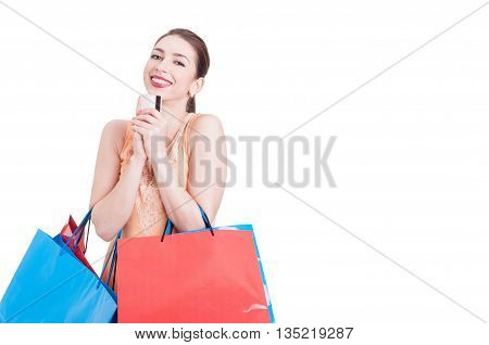 Lady Shopper Feeling Happy With Credit Card In Hands