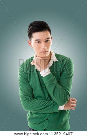 Sexy Asian young man, closeup portrait.
