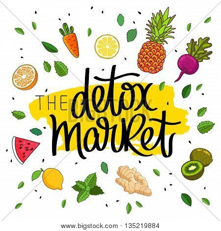 Detox market. The trend calligraphy. Vector illustration on white background with yellow smear of ink and different fruits and vegetables. The concept of healthy eating. Dietary cuisine.