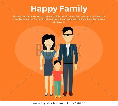 Happy family concept banner design flat style. Young family man and a woman with a son. Mother and father with child happiness lifestyle, vector illustration