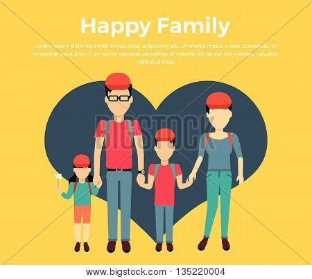 Happy family concept banner design flat style. Young family man and a woman with a son and daughter on a travel. Mother and father with child happiness lifestyle, vector illustration