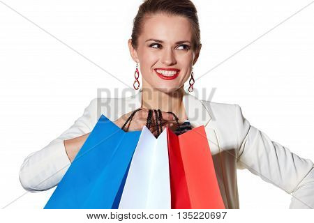 Close Portrait Of Smiling Woman With Shopping Bags Looking Aside