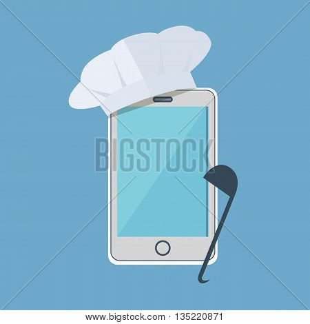 Recipe on the phone concept design. Smartphone with a white cap with a large spoon. Cooking with use mobile phone technology internet, smartphone online restaurant modern. Vector illustration