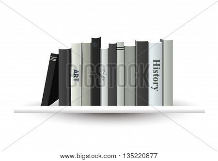 White book shelf. Vector illustration. Bookstore indoor.