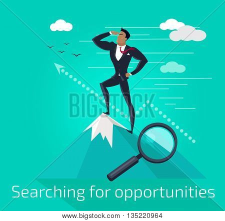 Businessman searching for opportunities. Successful young businessman standing on top of a mountain and look into the distance. Conceptual business idea banner poster flat design. Vector illustration