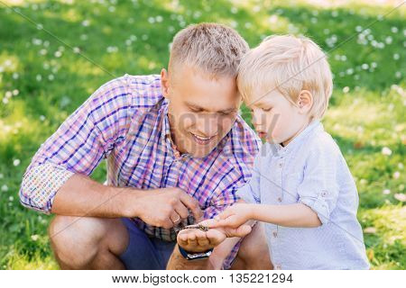 Toddler exploring a dragonfly which was caught by his father.