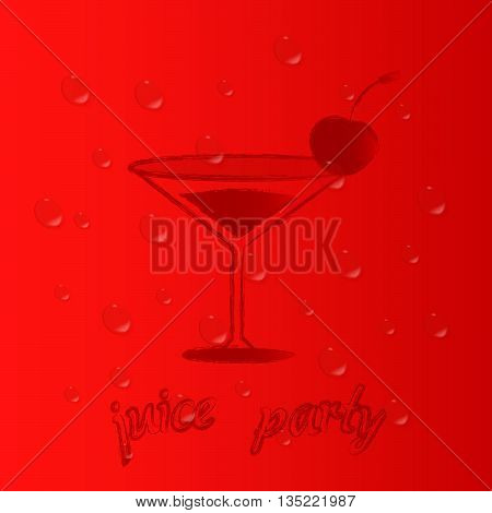 Party cherry juice. Vector background. Vector Illustration