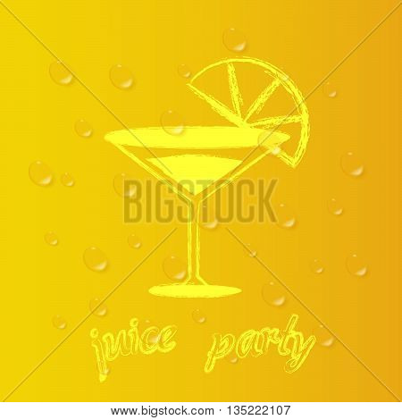 Party of orange juice. Vector background, tropical organic.