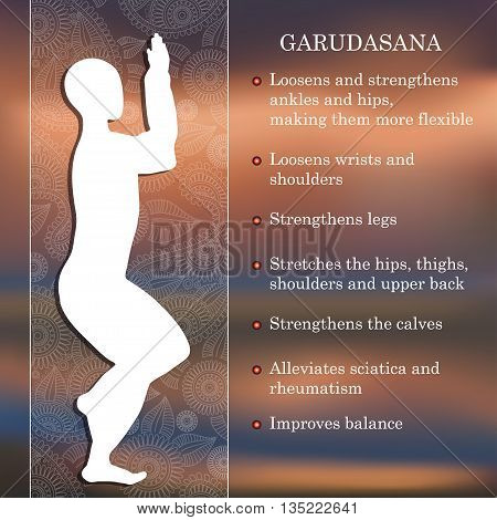 Yoga pose infographics, benefits of practice Garudasana