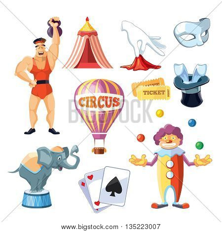 Vector icons set of Circus entertainment. Flat style design for your personal projects. Pictures isolate on white background.