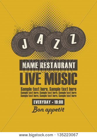 Musical poster for jazz restaurant with live music and vinyl records