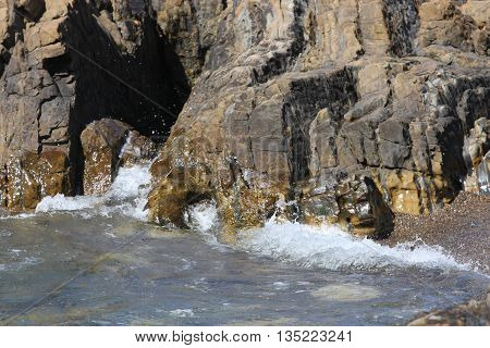 This is an image of rock and waive formations at Point Lobos in Carmel< California, U.S.A.