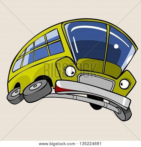 Cartoon Character Yellow Bus frightened flying in a jump