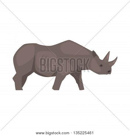 Rhinoceros Realistic Simplified Bright Color Vector Drawing Isolated On White Background
