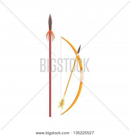 African Spear, Bow And Arrow Realistic Simplified Bright Color Vector Drawing Isolated On White Background