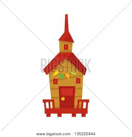 Little Beach Cabin With Paper Garland Cartoon Style Colorful Flat Vector Icon Isolated On White Background