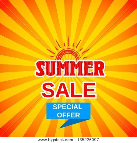 Vector summer sale template banner. Summer sale background. Special offer for summer sales. Stock vector.