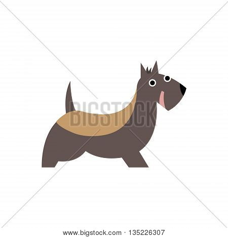 Scottish Terrier Dog Breed Primitive Cartoon Illustration In Simplified Vector Design Isolated On White Background