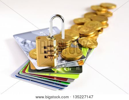 Credit cards and gold lock. Credit cards for payment products with your business