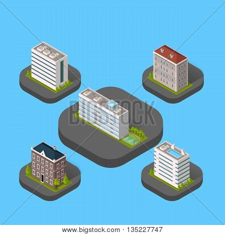 Isometric building set isolated design flat style. 3d modern house building with helipad or business offices isolated on a blue background. Templates for building web design. Vector illustration