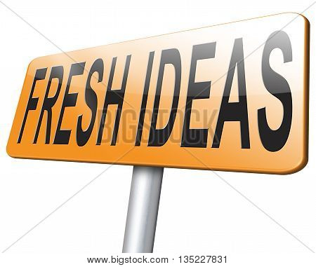 Fresh ideas and creative innovations give inspiration. Creativity and innovation road sign billboard.