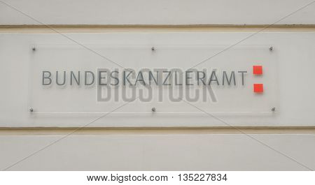 VIENNA AUSTRIA - MAY 31 2016: sign of bundeskanzleramt at the bundeskanzleramt building at Ballhausplatz. 21010 vienna