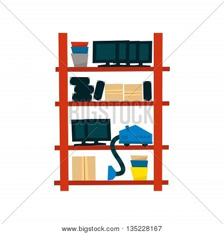 Storehouse Shelf With Objects Simplified Flat Vector Design Colorful Illustration On White Background