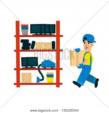 Worker Bringing Box To Store On The Shelf Simplified Flat Vector Design Colorful Illustration On White Background