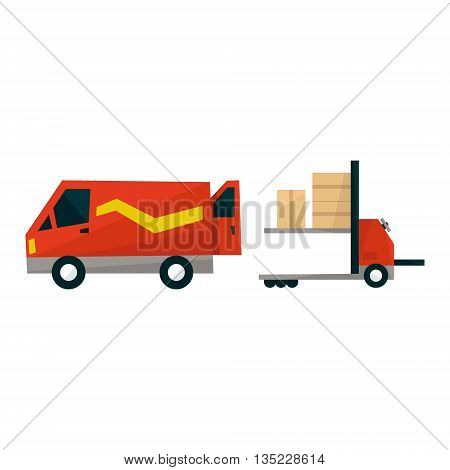 Forklift Machine Loading Carg Into The Mini Bus Simplified Flat Vector Design Colorful Illustration On White Background