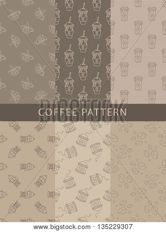 Mosaic Set Of Seamless Coffee Themed Patterns In Trendy Sketch Flat Vector Design On Brown Background