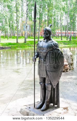 Sculpture Black Knight With Shield And Spear Cast Iron