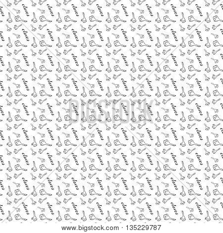 Vector seamless pattern with cloves, hand drawn vector illustration. Black clove, white background. Hand-drawn, vector. Texture, illustration for web design, paper