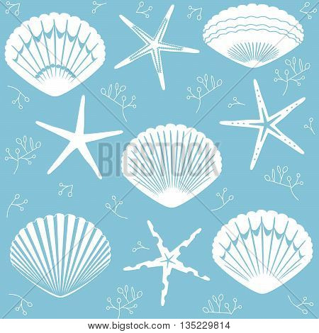 Vector seamless starfish and seashells on a light blue background, suitable for printing on a variety of surfaces and textile production