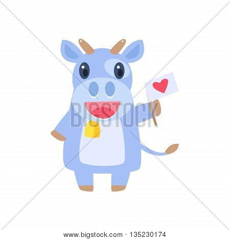 Cow Holding Flag With Heart Flat Childish Simple Style Vector Drawing Isolated On White Background