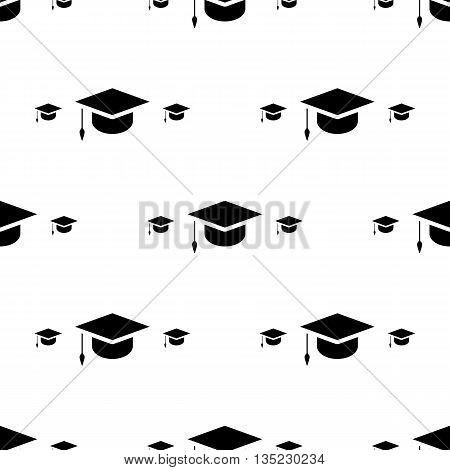 Student Cap, Graduation Hat Icon Seamless Pattern Background