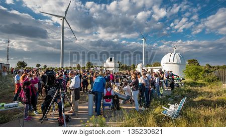 VALENCIA - JUNE 11: Unidentified people participates in the astronomy spreading open day in Aras de los Olmos, Valencia on June 11, 2016 in Valencia, Spain