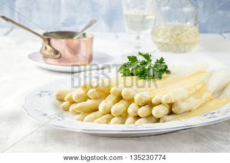 White Asparagus on Plate