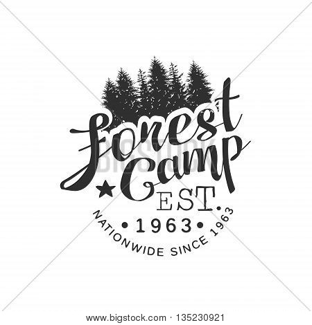 Nationwide Forest Camp Vintage Black And White Monochrome Vector Design Label On White Background
