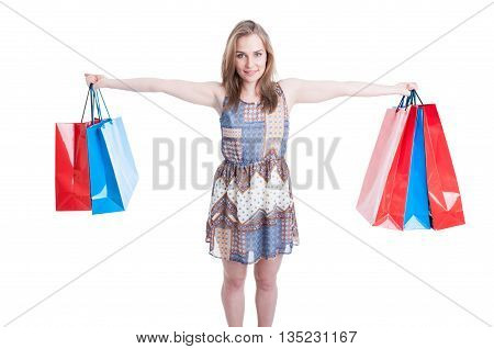 Picture Of Happy Woman Holding Colorful Shopping Bags