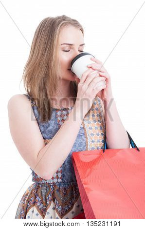 Shopper Woman Holding Gift Bags And Drinking Takeaway Coffee