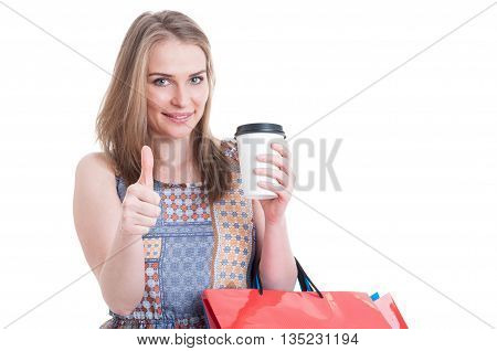 Trendy Cute Female Holding Coffee Mug And Carrying Shopping Bags