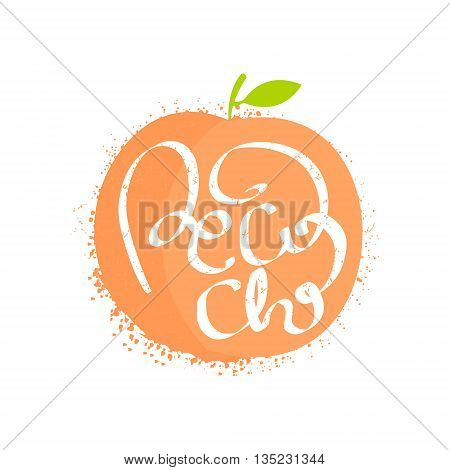 Peach Name Of Fruit Written In Its Silhouette Colorful Trendy Vector Design Sticker Isolated On White Background