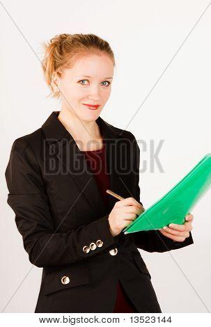 """geschäftsfrau mit Ordner """"Dokumente"""""""