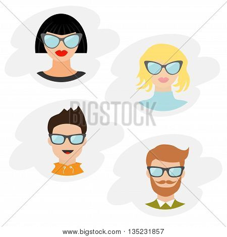 Avatar people icon set. Cute cartoon character. Diverse face collection. Men women wearing eyeglasses.. Male female head with sunglasses. Cloud shape Flat White background Isolated Vector illustration
