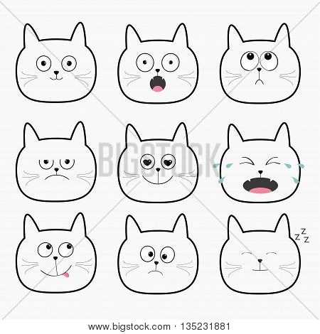 Cute black cat head set. Cartoon characters Different emotions faces collection. Expression face icons. Crying happy snoring angry kitten. Cat feelings. White background Flat Vector illustration