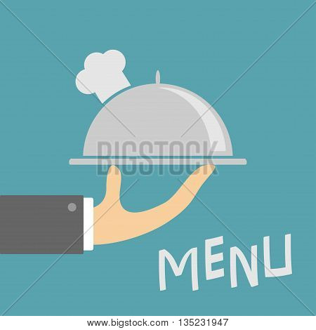 Waiter hand holding silver platter cloche with chefs hat. Menu card. Metal restaurant food cloche. Blue background. Flat design. Vector illustration