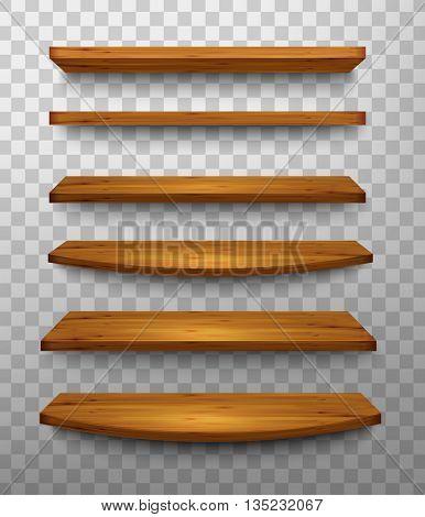 Set of wooden shelves on a transparent background. Vector.