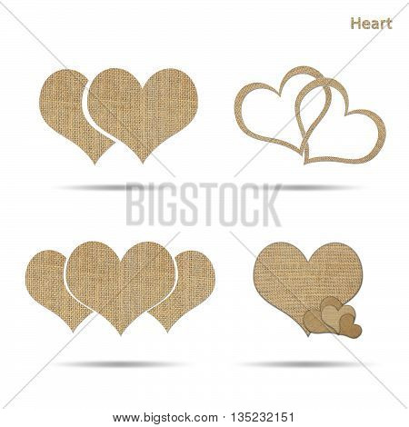 set of couple heart from sackcloth isolated on white